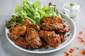 Spicy fried chicken with dipping sauce