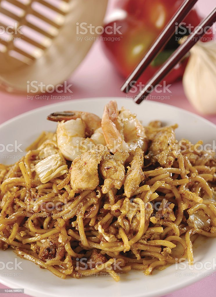 spicy fried noodle royalty-free stock photo