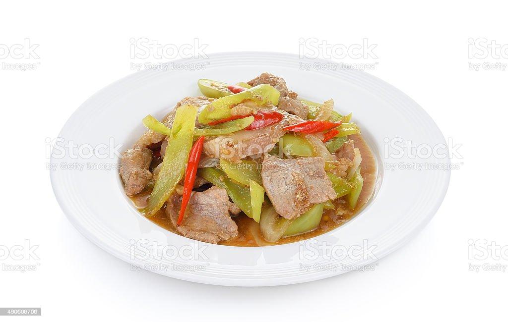 Ostry smażone Wieprzowina z chili na białym talerzu zbiór zdjęć royalty-free