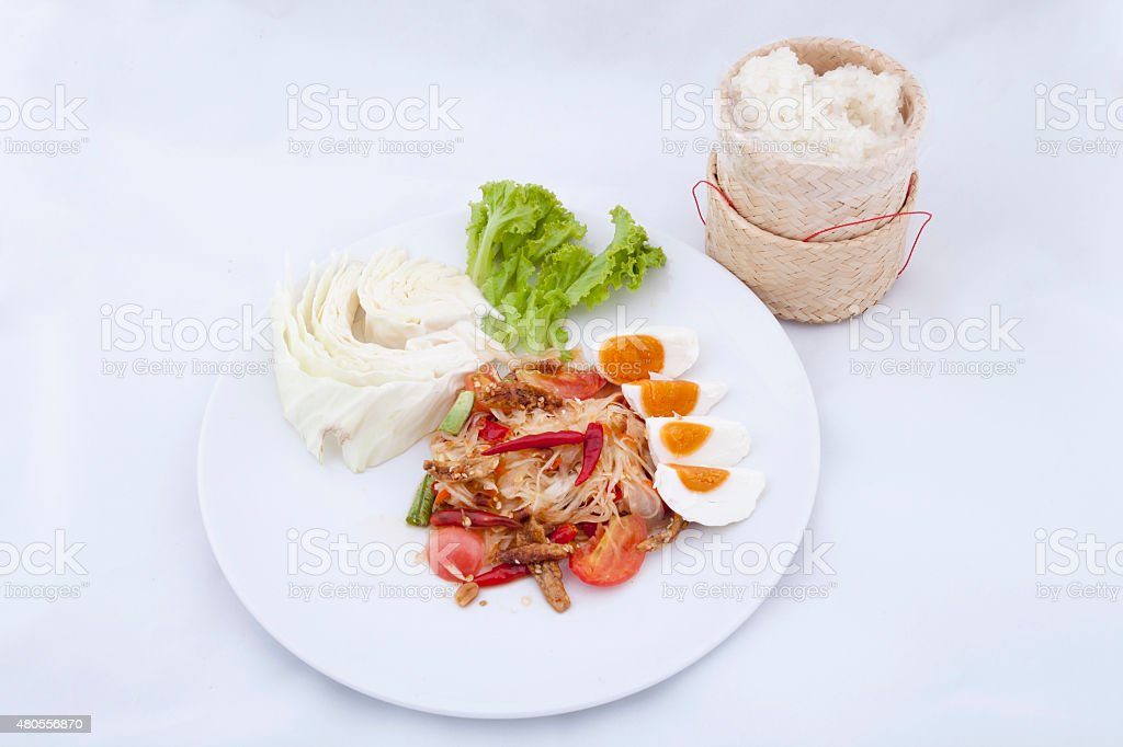 Spicy Green papaya salad, famous Thai food stock photo