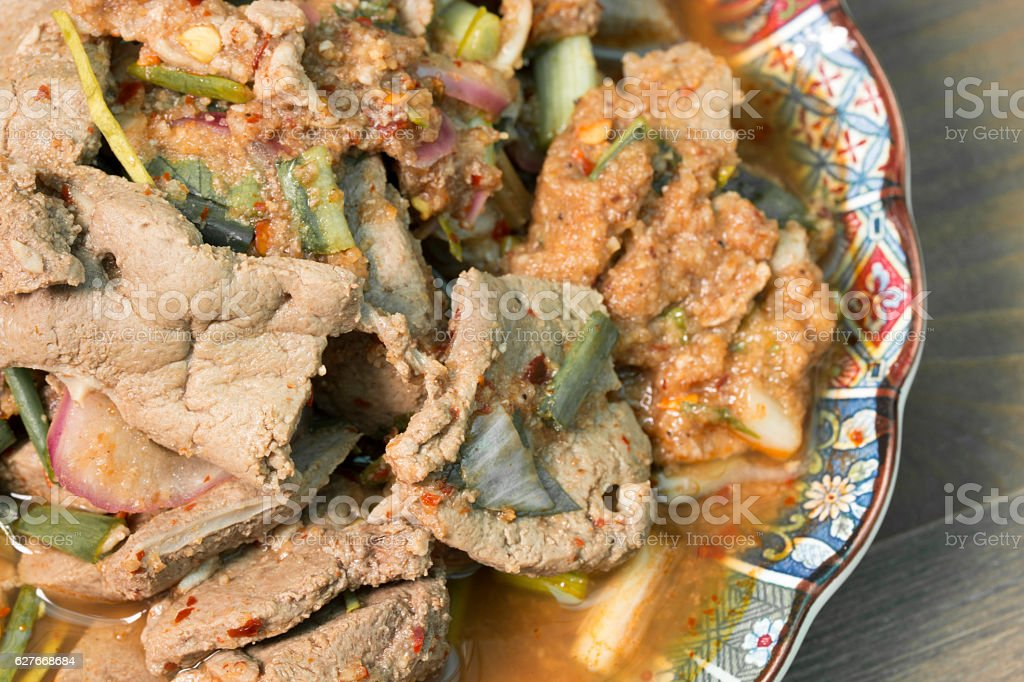 Spicy grilled beef salad, Nam Tok, Thai food stock photo