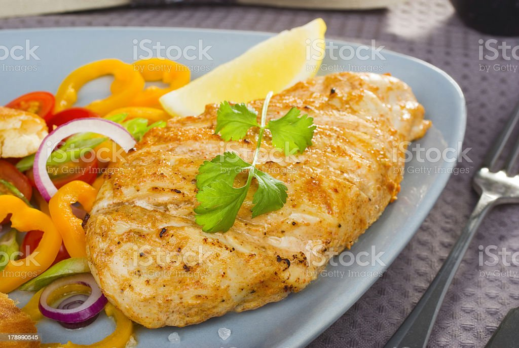Spicy Grilled Chicken and Salad royalty-free stock photo