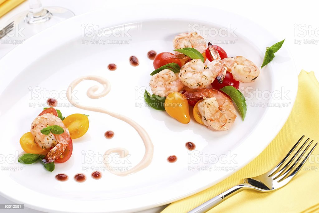 Spicy grilled shrimps and basil tomato salad royalty-free stock photo