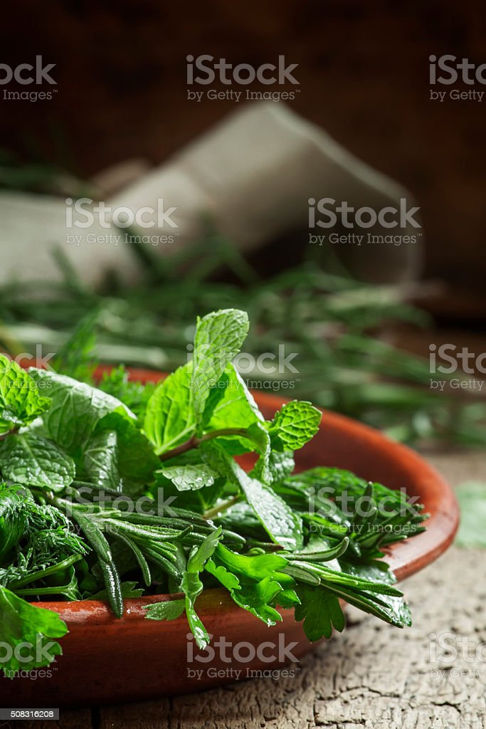 Spicy herbs in a clay dish stock photo