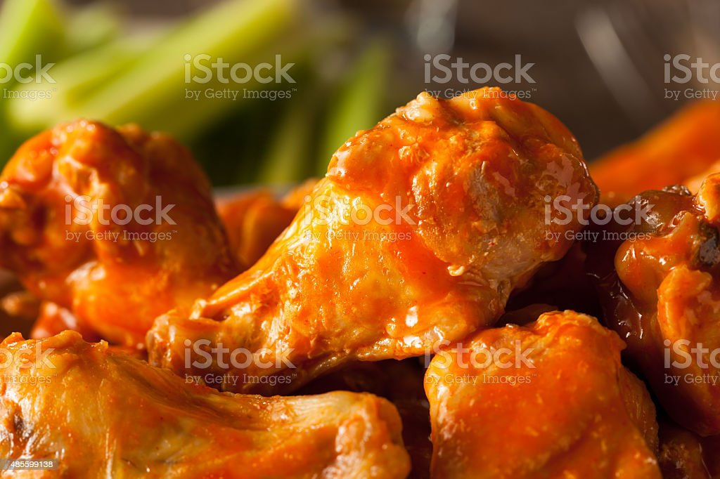 Spicy Homemade Buffalo Wings stock photo