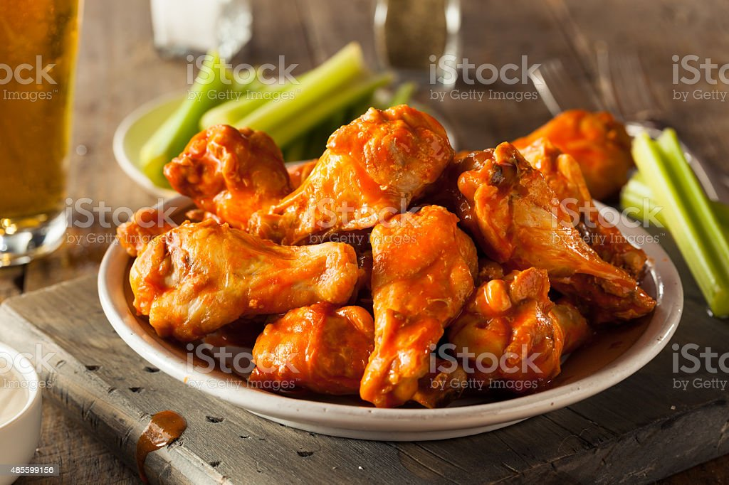 Spicy Homemade Buffalo Wings stock photo