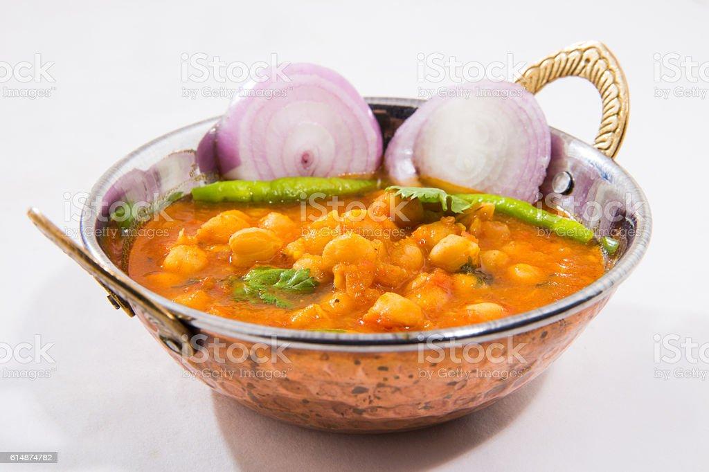 Spicy Indian dish called Chana Masala stock photo