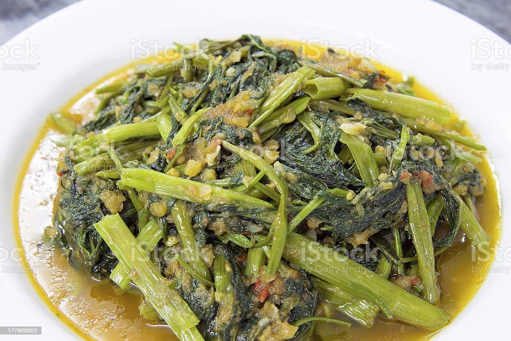 Spicy Kangkong Vegetables Stir Fry Closeup stock photo