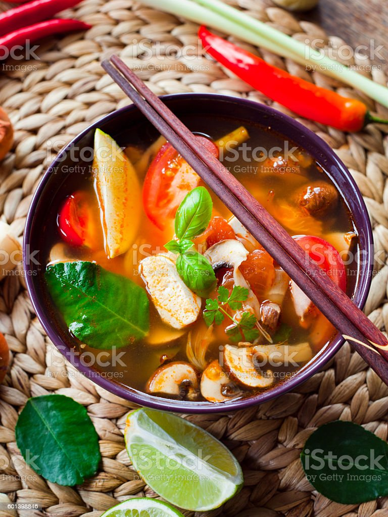 spicy korean broth soup with tofu stock photo