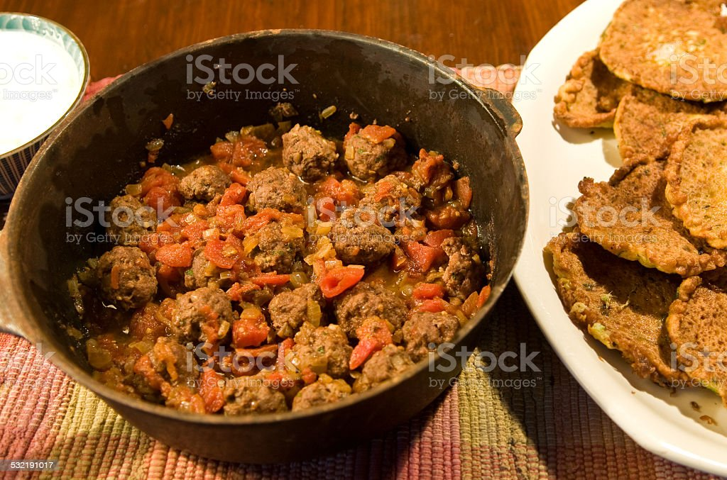 Spicy lamb balls - Kefta Ghan Mi Bel stock photo