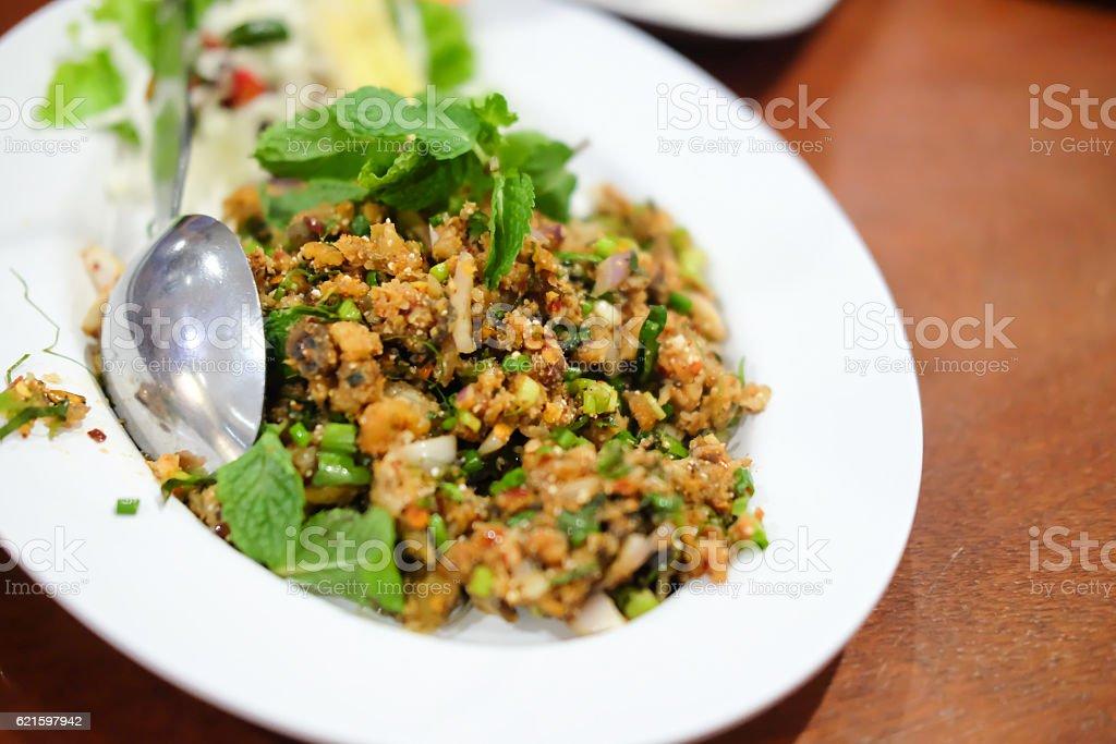 Spicy larb, Thailand food stock photo
