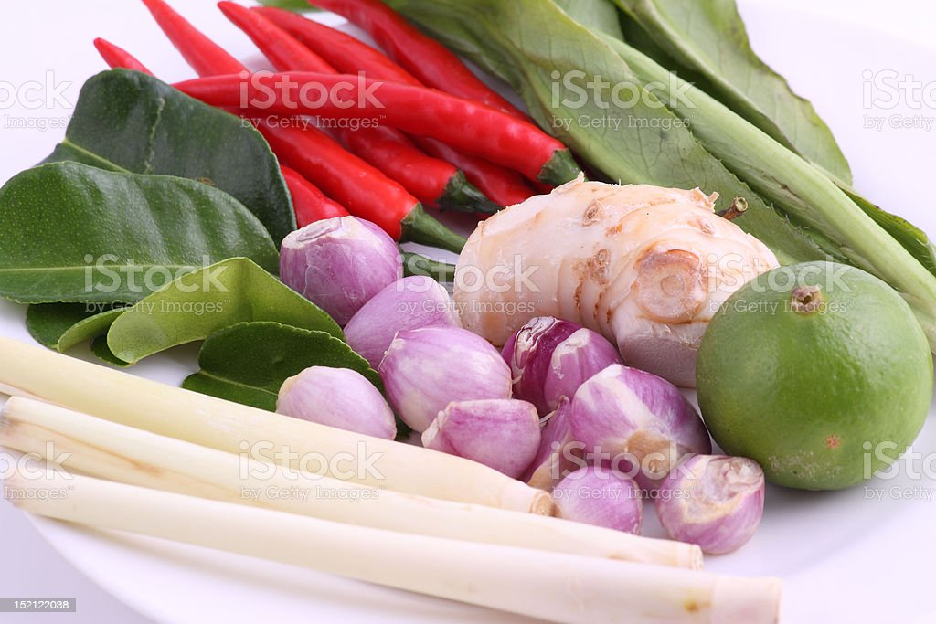 spicy lemongrass soup ingredients royalty-free stock photo