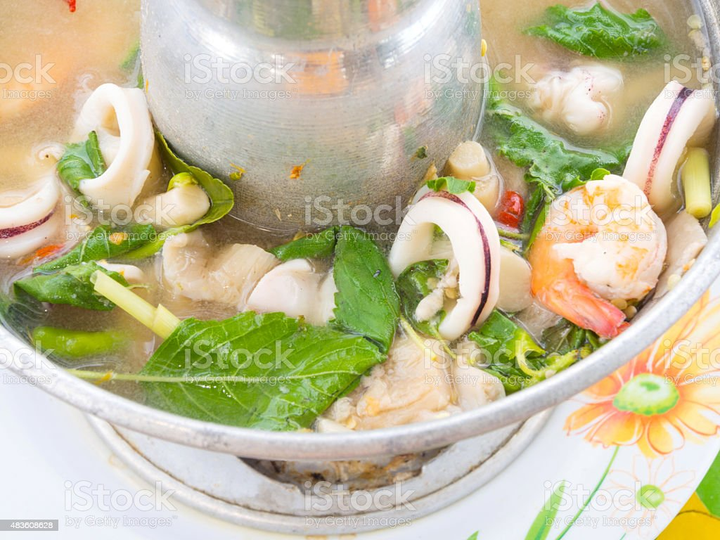 spicy lemongrass soup seafood as Tom Yam from Thailand. royalty-free stock photo