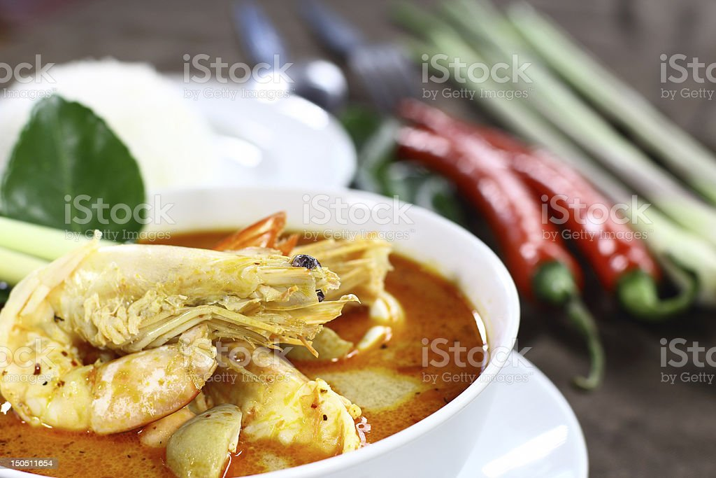 Spicy lemongrass soup with shrimp stock photo
