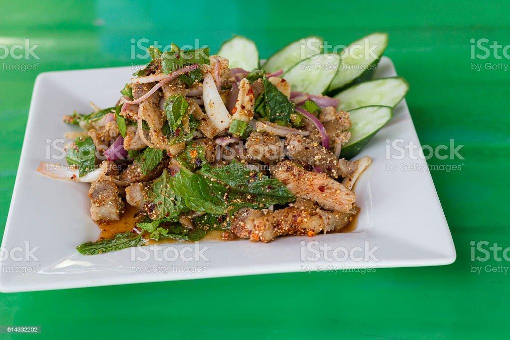 Spicy minced beef salad stock photo