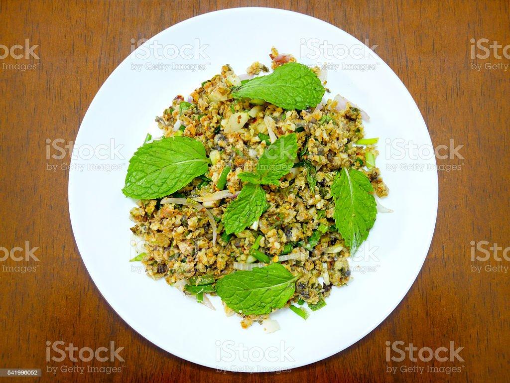 Spicy minced catfish salad stock photo