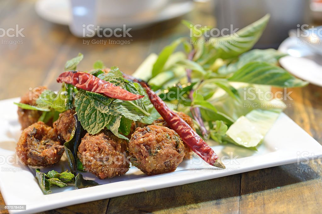Spicy minced pork stock photo