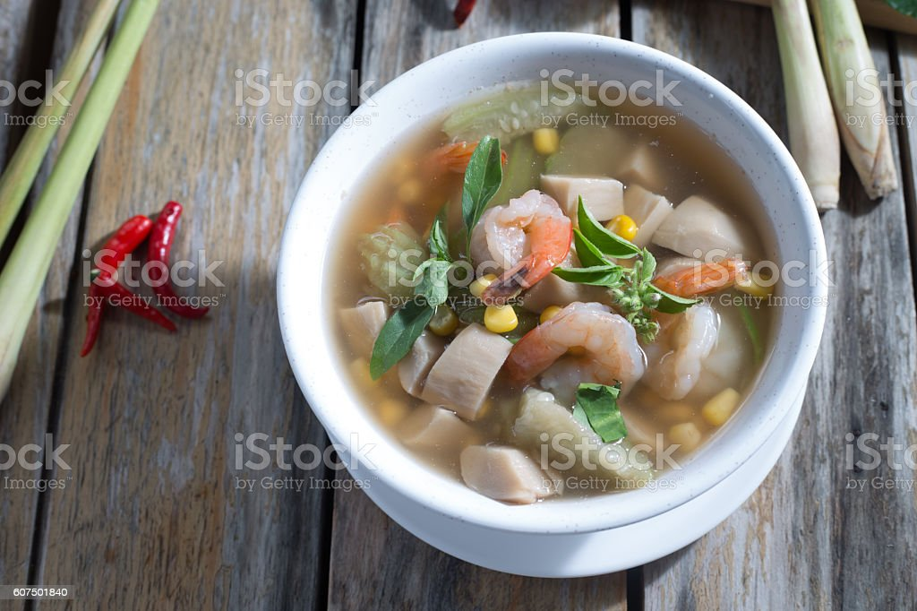 spicy mixed vegetable soup and Shrimp food Thailand stock photo