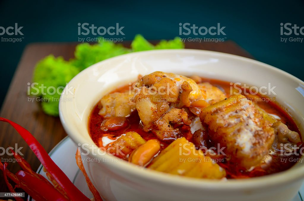 Spicy Muslim curry   delicious of Thaifood. stock photo