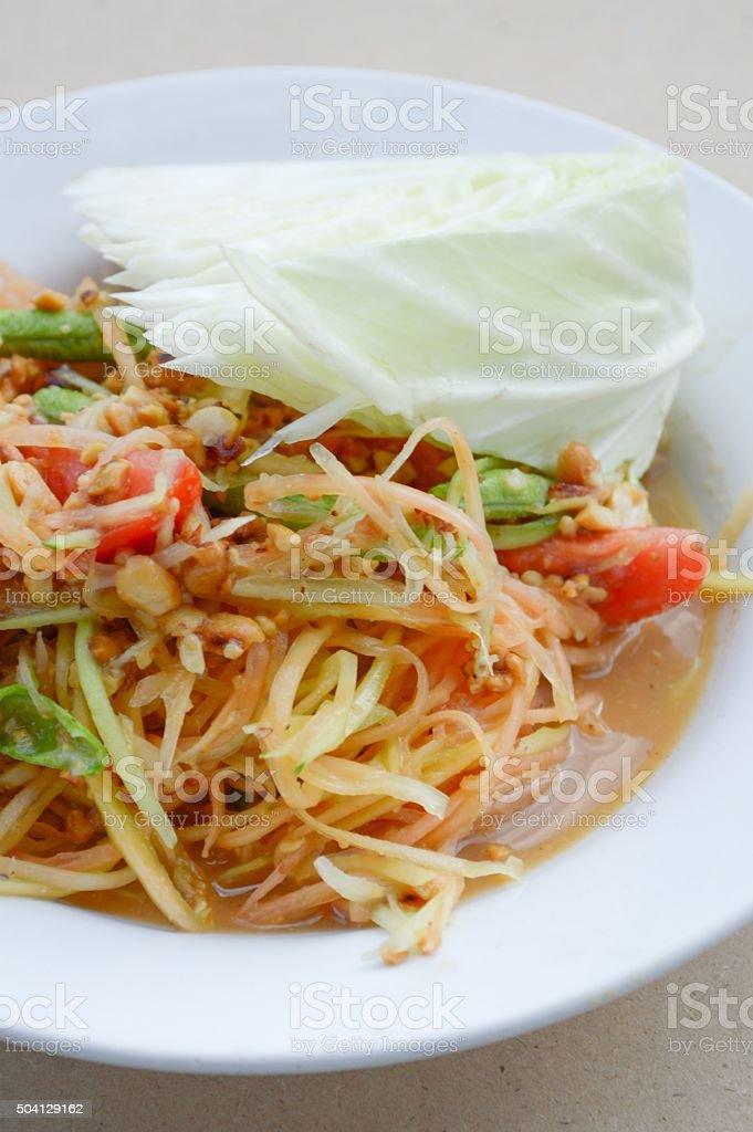 Spicy Papaya Salad stock photo