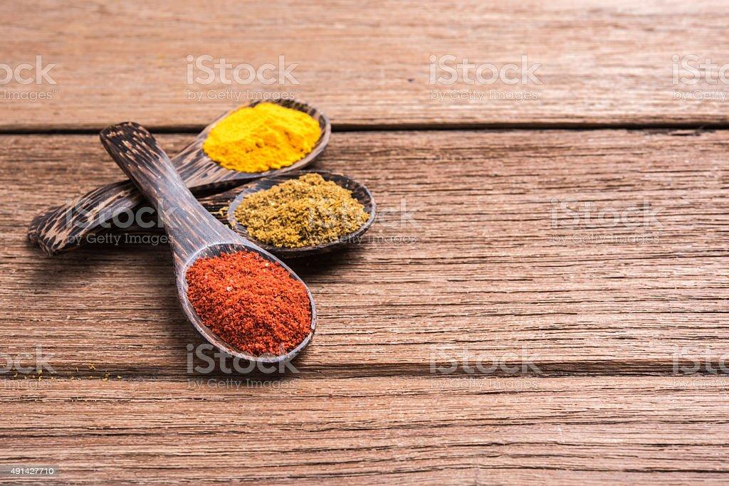 spicy powder spoon stock photo