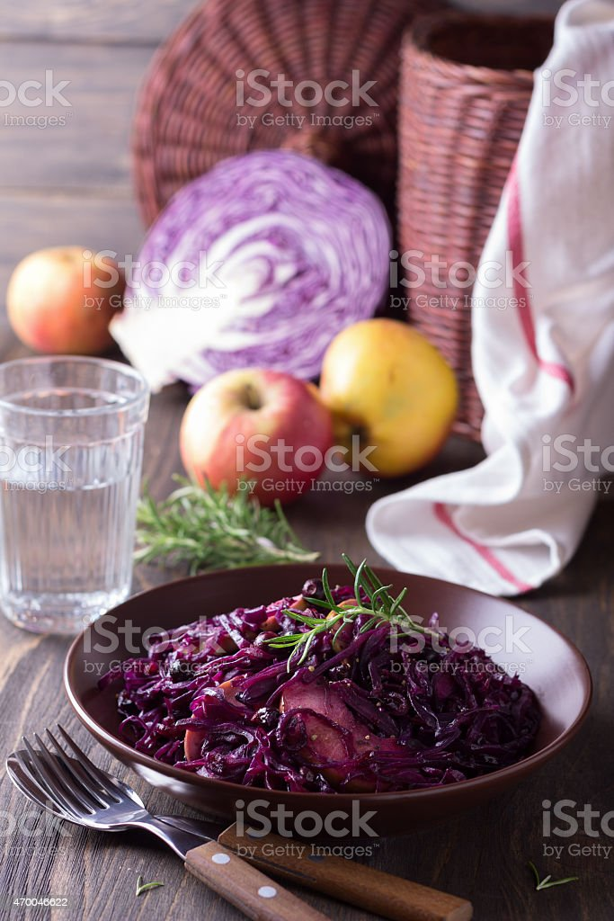 Spicy red cabbage stewed with apples and blackcurrant stock photo
