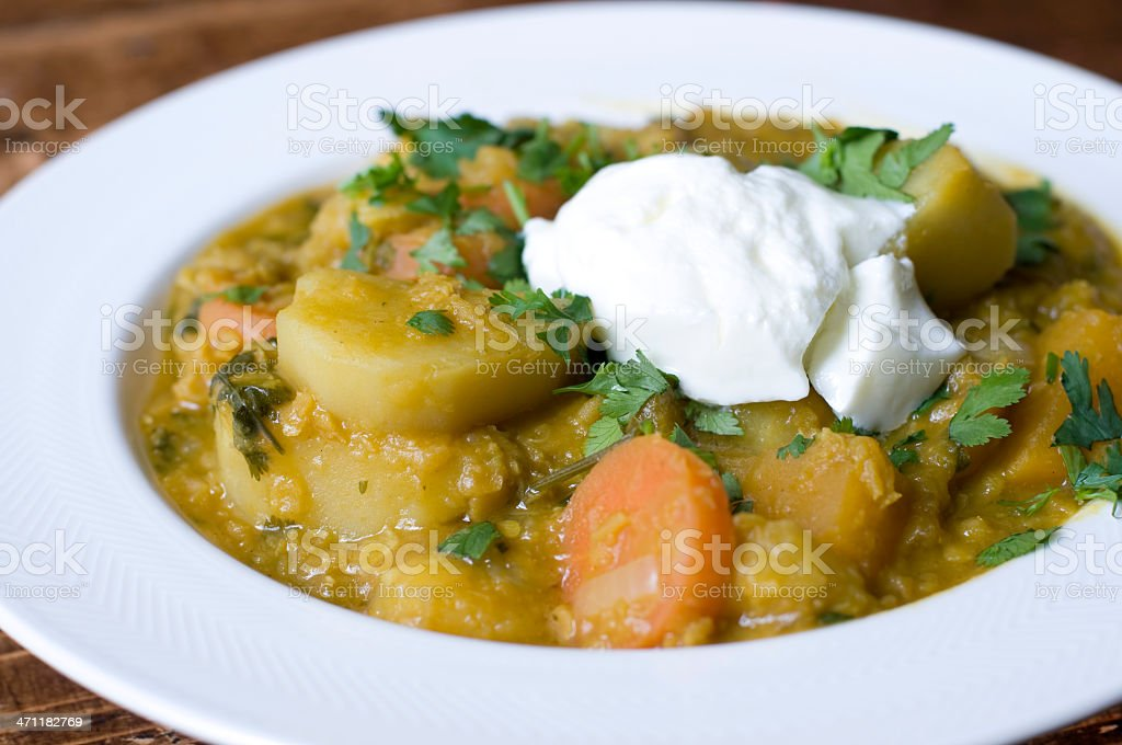 Spicy root and lentil casserole stock photo