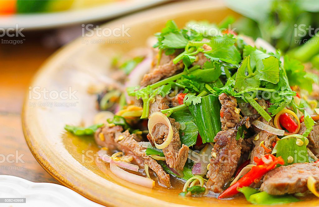 Spicy salad of roasted beef , Thai style food stock photo