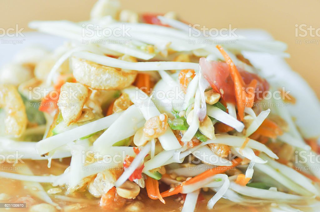 spicy salad,Som Tam or Thai spicy salad stock photo