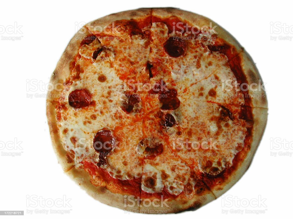 spicy salami pizza royalty-free stock photo