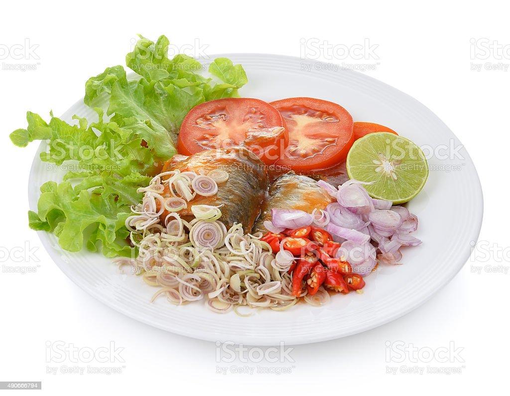 Ostry sos pomidorowy sardynki w puszkach, ryby zbiór zdjęć royalty-free