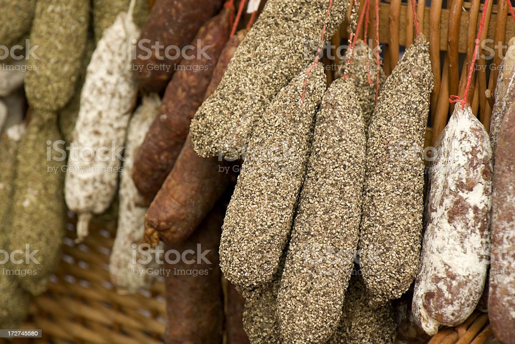 Spicy sausages and salami royalty-free stock photo