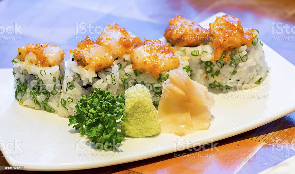 Spicy scallops Sushi royalty-free stock photo