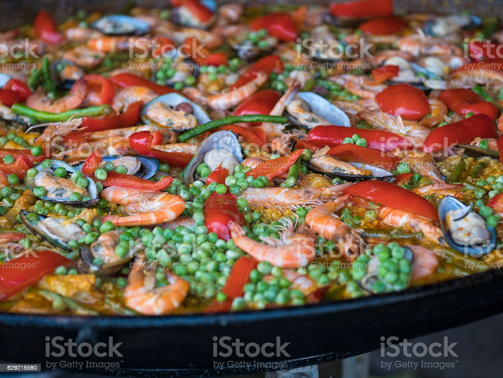 Spicy seafood meal on a big pan stock photo