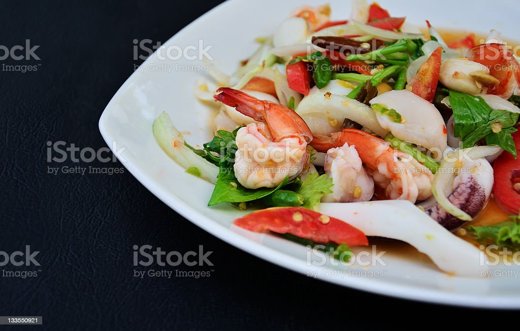 Spicy Seafood Salad royalty-free stock photo