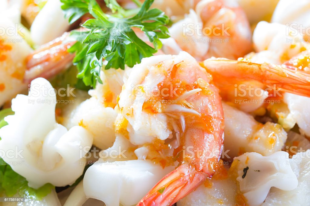 spicy seafood thai food stock photo