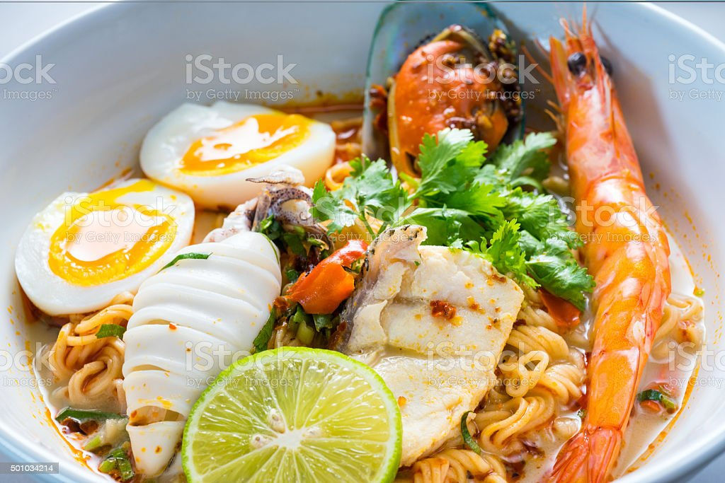 Spicy Seafoods Tom Yam Noodle stock photo