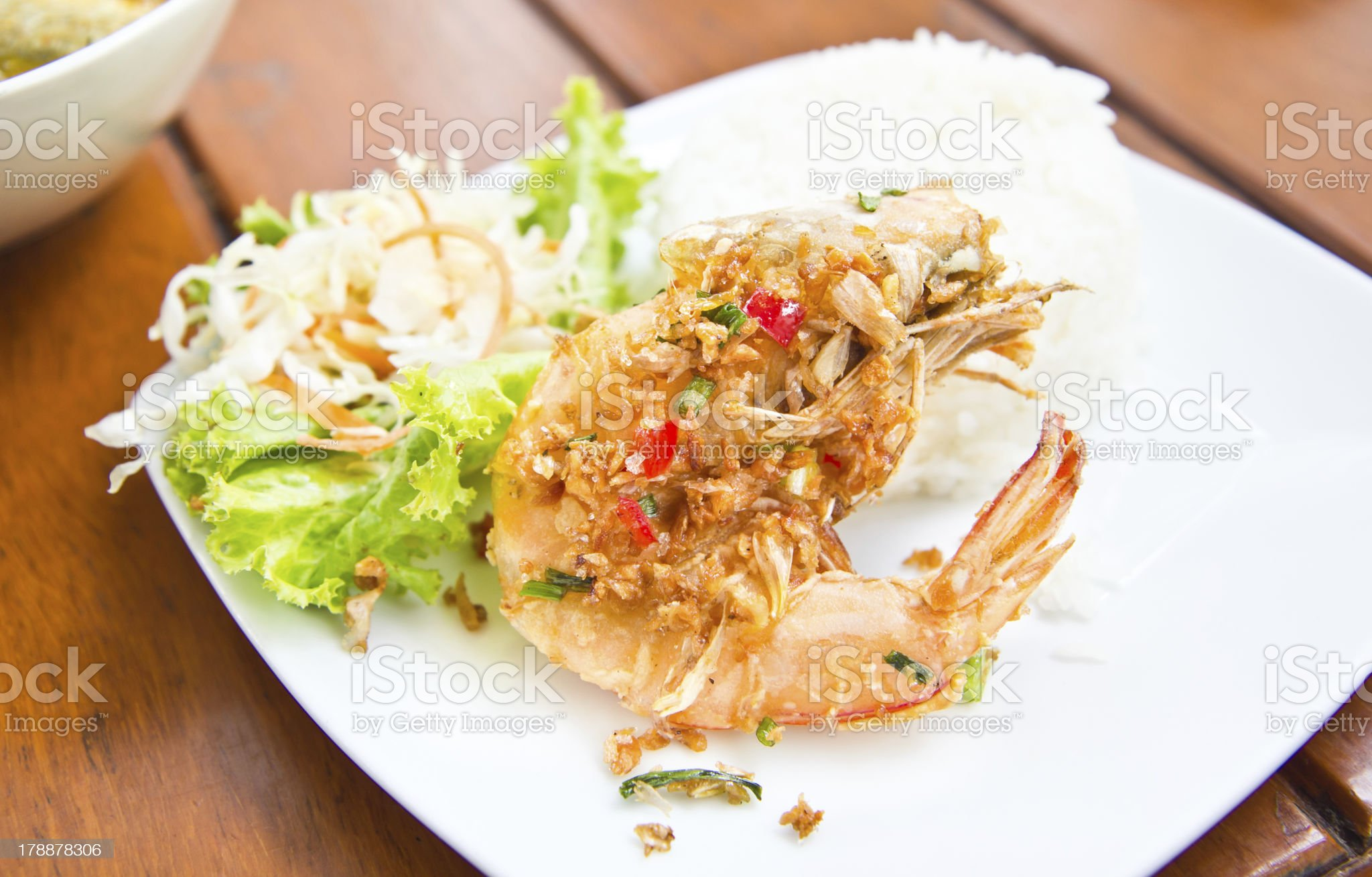 spicy shrimp fried with jasmine rice royalty-free stock photo