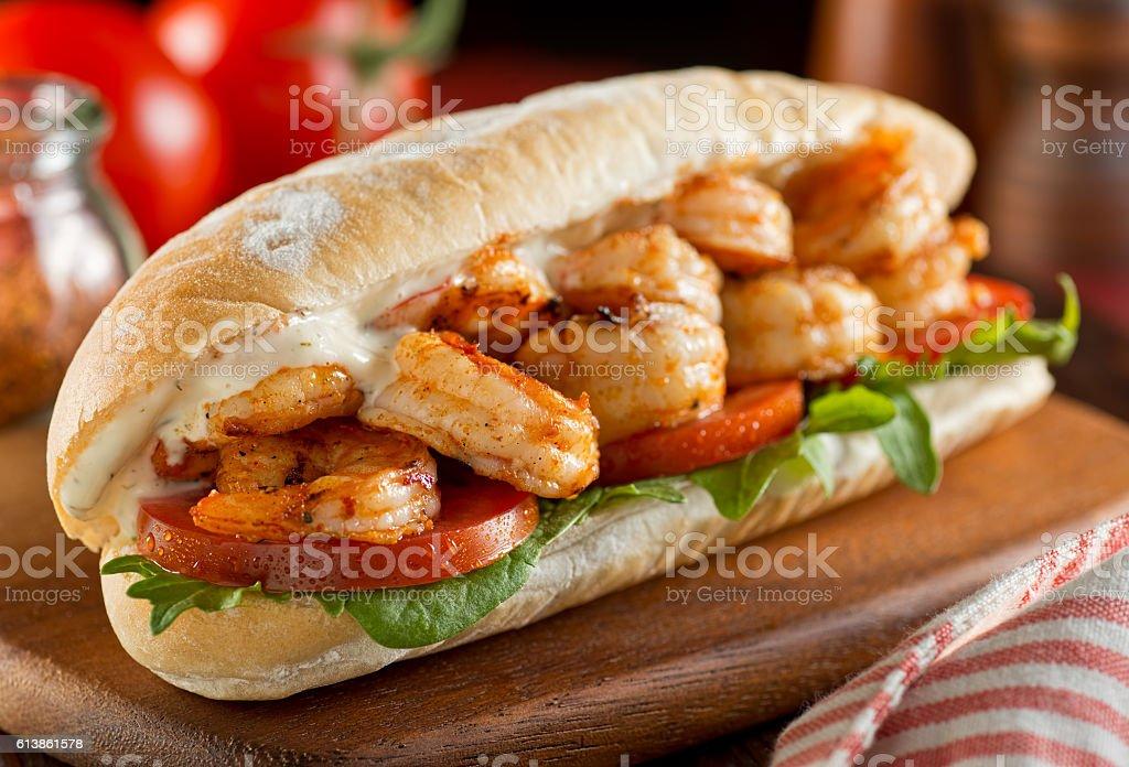 Spicy Shrimp Sandwich stock photo