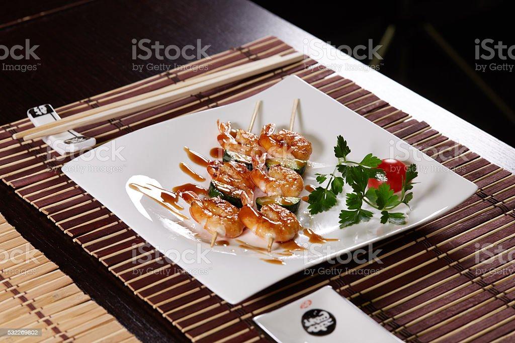 Spicy shrimps stock photo