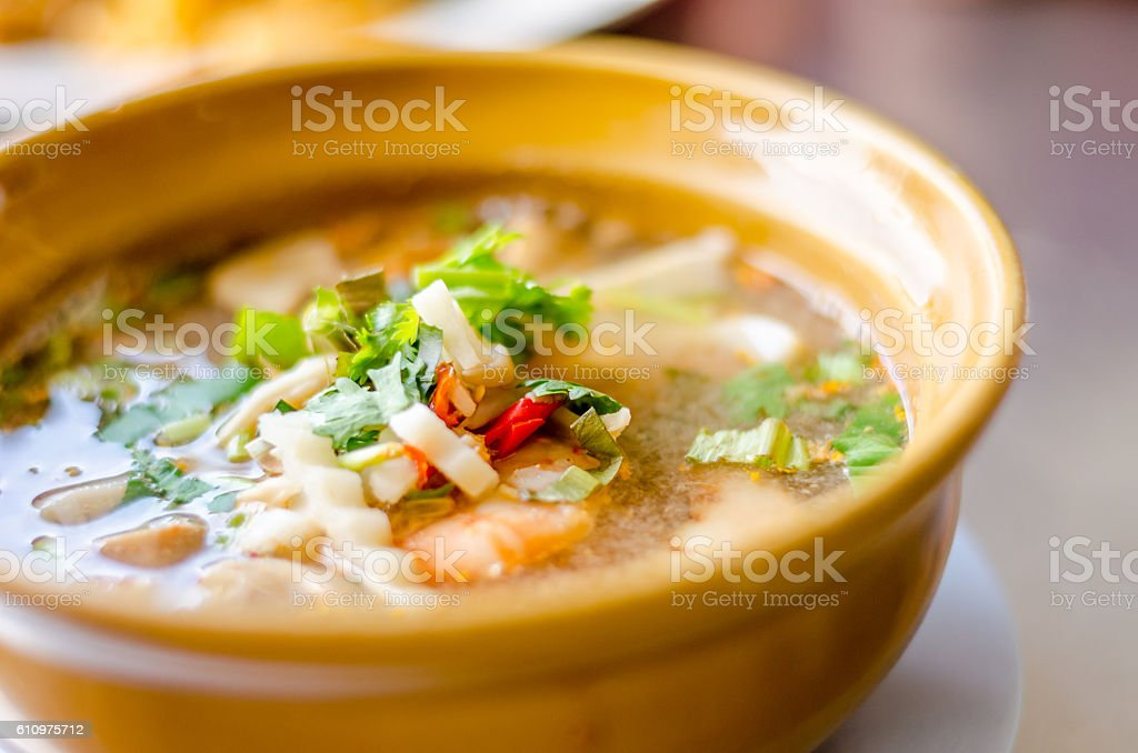 Spicy Soup with Shrimp (Tom Yum Goong) stock photo