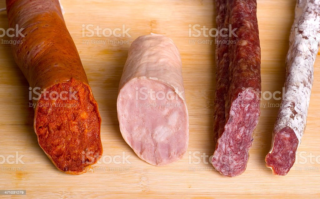 Spicy spanish sausages stock photo