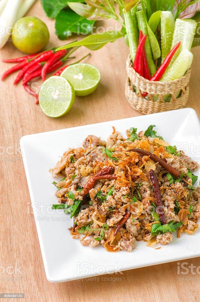 Spicy Thai food, Larb duck stock photo