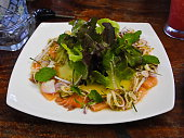 spicy Thai food salmon with salad