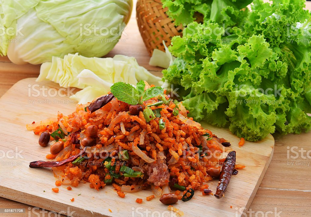 Spicy Thai food,Spicy Salad of Curried Rice Croquettes, stock photo