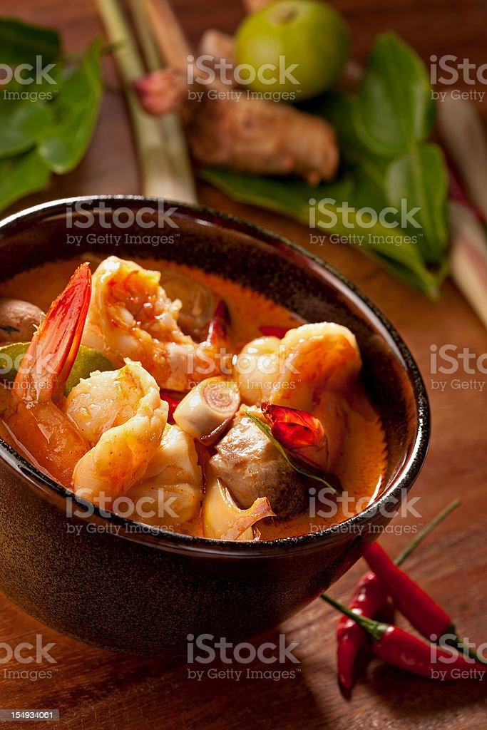 Spicy Thai Tom Yam prawn soup. stock photo