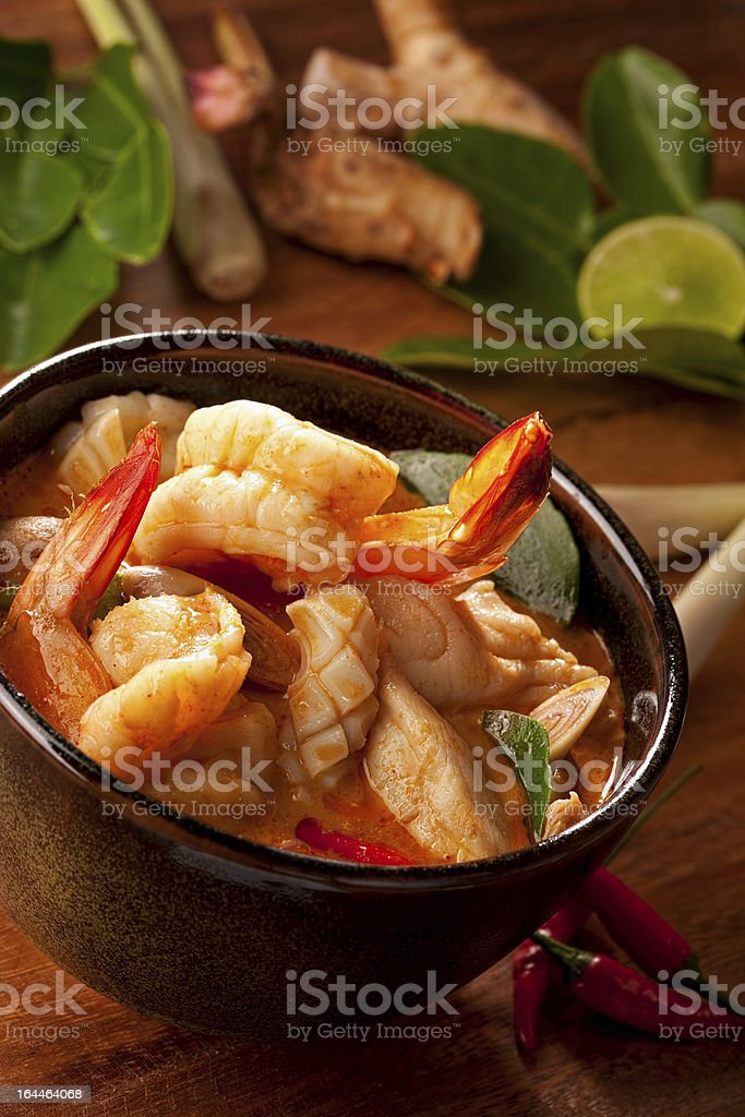 Spicy Thai Tom Yam seafood soup. stock photo