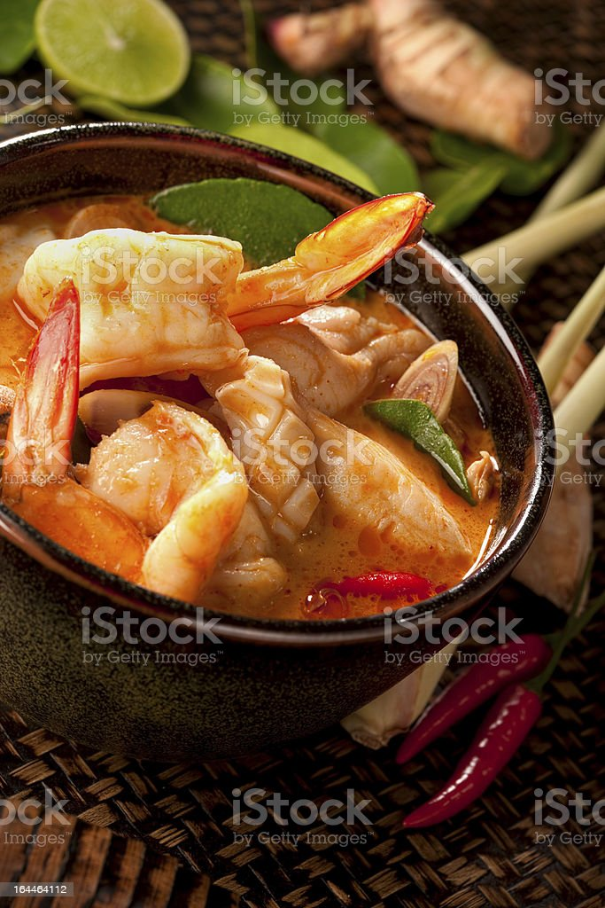 Spicy Thai Tom Yam seafood soup. royalty-free stock photo