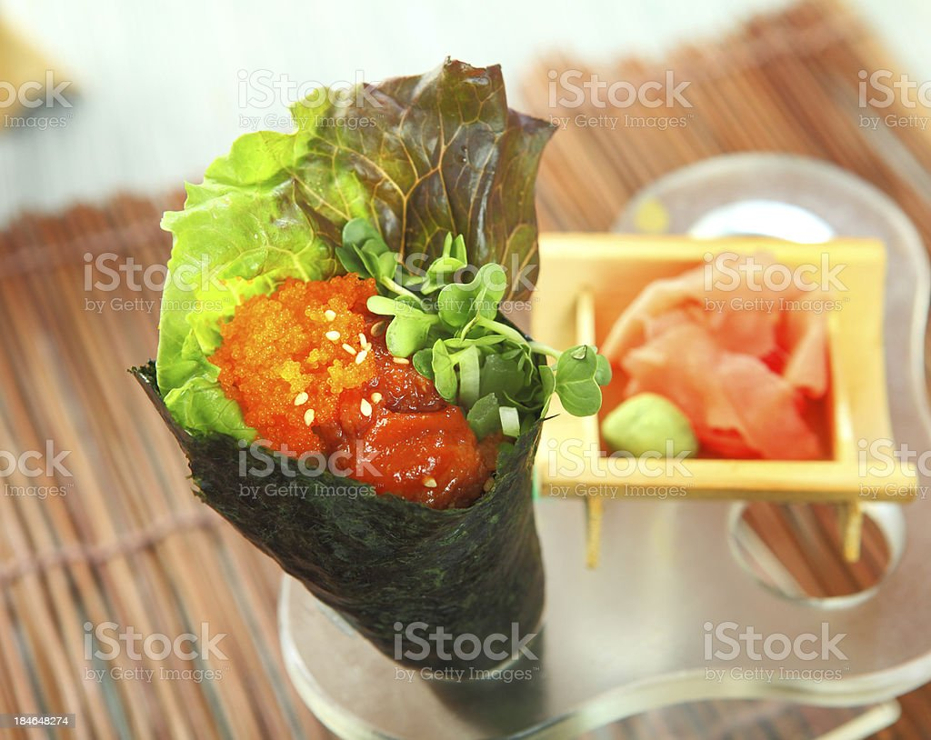 Spicy Tuna Hand Roll royalty-free stock photo