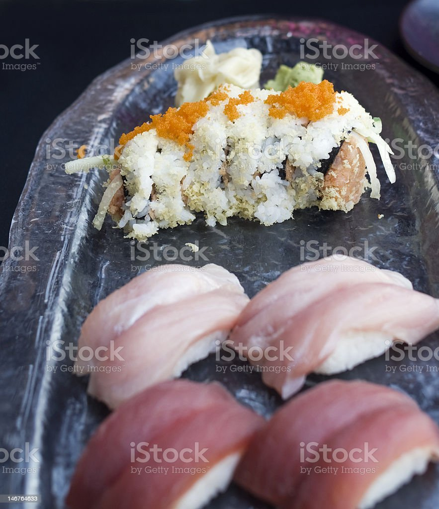 Spicy tuna maki with tobiko garnish royalty-free stock photo